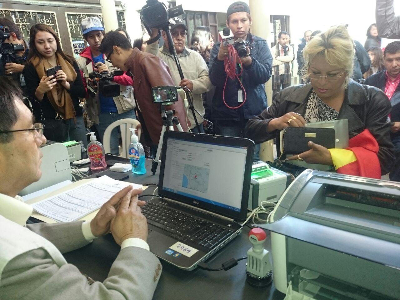 2. El primer registro recepcionado en oficinas del SERECI Cochabamba.