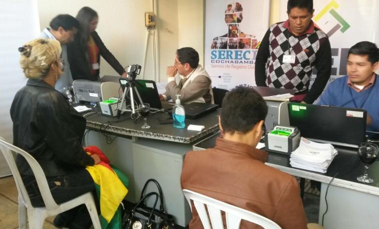 4. Los primeros registros recepcionados en oficinas del SERECI Cochabamba.