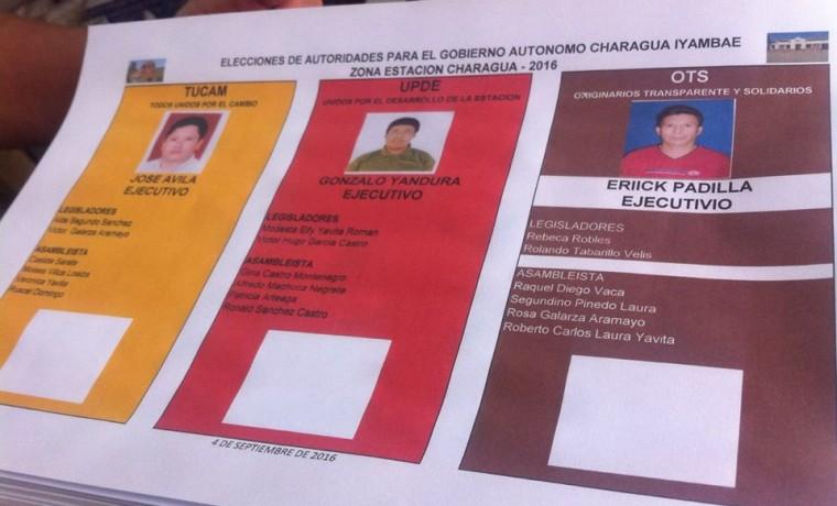 1. Las papeletas de sufragio para la elección en Charagua Estación.