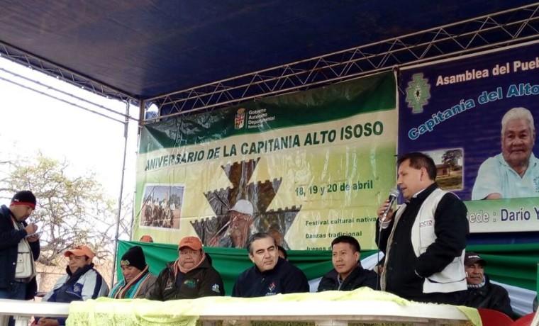4. El Presidente del TED Santa Cruz, Eulogio Núñez, durante la inauguración de la Asamblea Zonal en Alto Isoso.