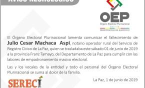Comunicado sobre el accidente de tránsito en la carretera hacia la provincia Franz Tamayo, La Paz