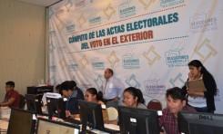 TSE concluye cómputo del voto en el exterior con una participación del 61.57%