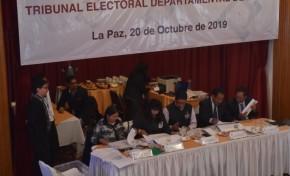 El TED La Paz avanza en el cómputo oficial de las actas electorales departamentales