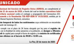 Serecí Chuquisaca suspende la atención; 5 oficialías otorgarán certificados de defunción exclusivamente