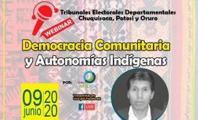 """Convocan al seminario virtual """"Democracia comunitaria y autonomías indígenas"""""""