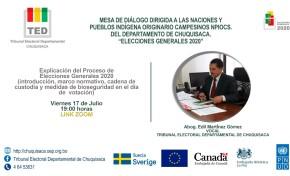 El TED Chuquisaca socializa normas y procedimientos electorales en la Sexta Mesa de Diálogo con naciones y pueblos indígena originario campesinos