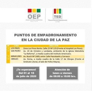 Empadronamiento en La Paz hasta el 15 de julio F
