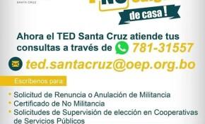 El TED Santa Cruz atiende consultas y trámites de la ciudadanía de manera virtual