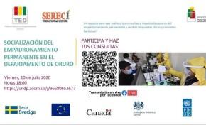 El TED y Serecí Oruro aclaran dudas sobre el empadronamiento en un diálogo virtual con jóvenes