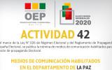 El TED La Paz publica la lista de medios habilitados para la difusión de propaganda electoral