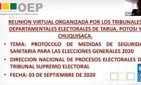 Los TED de Tarija, Chuquisaca y Potosí socializan protocolos de bioseguridad de las Elecciones Generales 2020