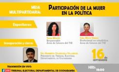 Candidaturas femeninas: TED Cochabamba y PNUD organizan encuentro sobre la participación de la mujer en política