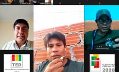 El TED Tarija explica el procedimiento de votación y las medidas de bioseguridad a representantes de pueblos indígenas