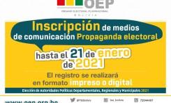 Medios de comunicación pueden registrarse para difundir propaganda electoral hasta el 21 de enero de 2021
