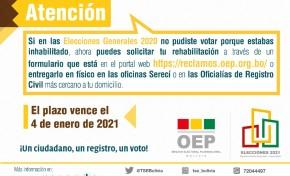 Personas inhabilitadas en las Elecciones 2020 pueden solicitar su rehabilitación en el Padrón hasta el 4 de enero