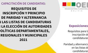 TSE capacita a candidatas sobre requisitos de inscripción y paridad en las listas de candidaturas