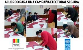 TED Tarija y delegados de organizaciones y alianzas políticas suscriben el acuerdo para una Campaña Electoral Segura