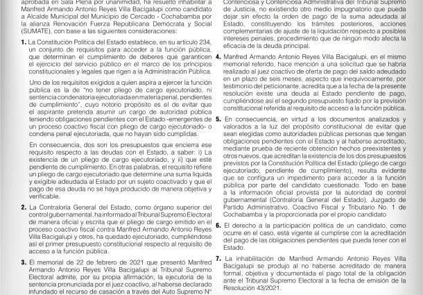 Comunicado del TSE sobre la candidatura de Manfred Reyes Villa