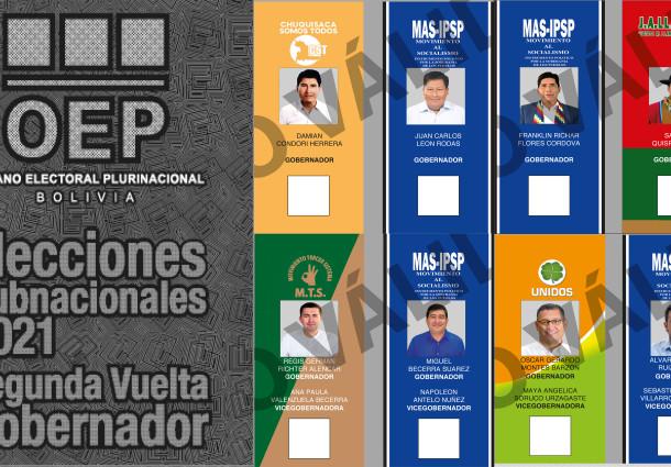 Conozca las papeletas electorales para elegir en la segunda vuelta a los gobernadores de Chuquisaca, La Paz, Tarija y Pando