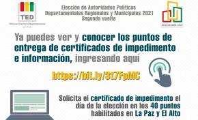 Habilitan 40 puntos de información y de entrega de certificados de impedimento de sufragio en La Paz