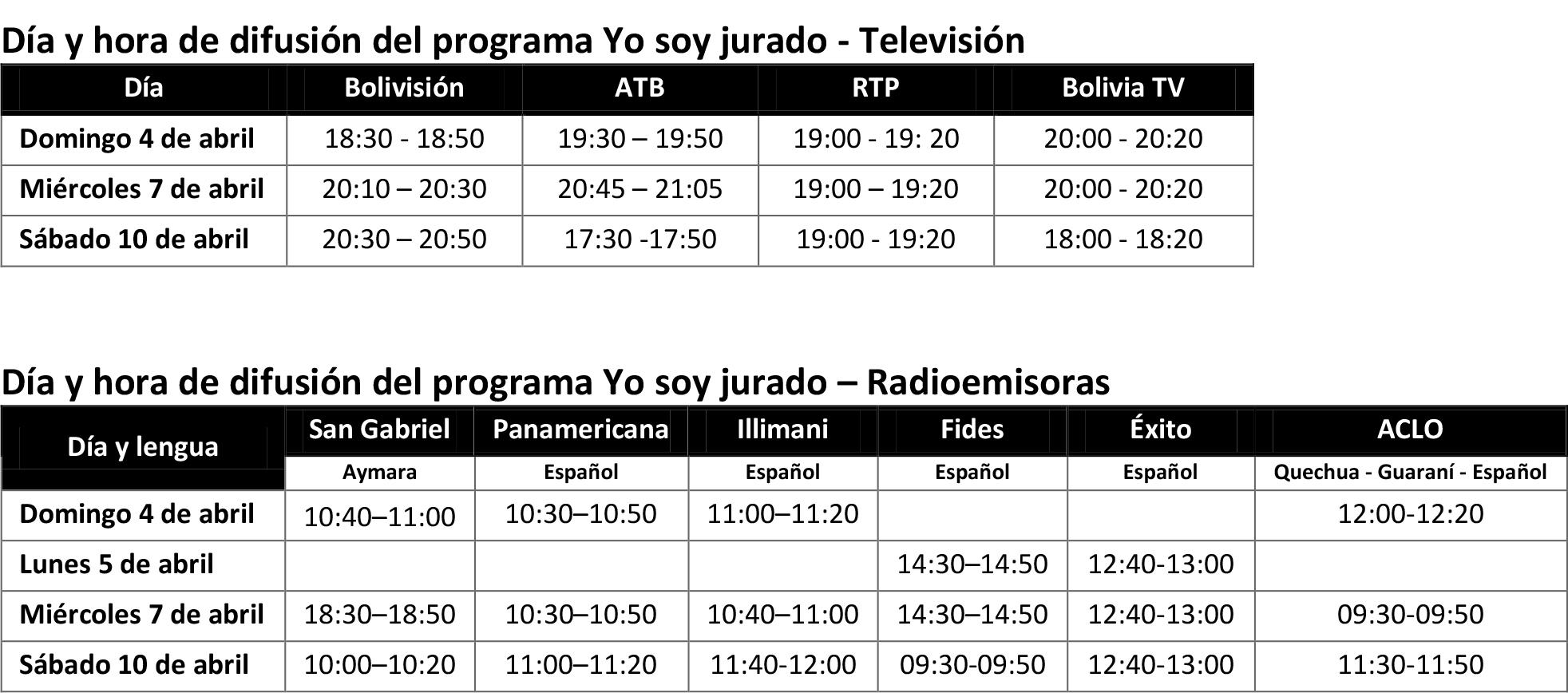 programas tv y radio
