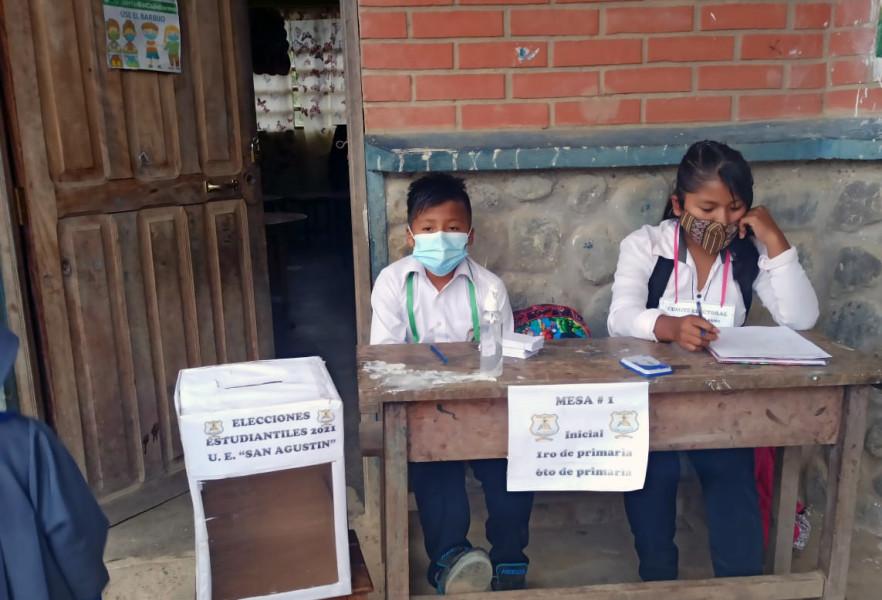 Elecciones estudiantiles en unidad educativa San Agustín, Coripata