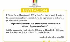 El TED Santa Cruz invita a organizaciones políticas y NPIOC al taller de fortalecimiento público en año no electoral